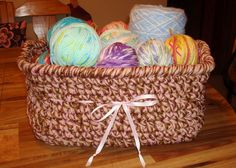 crochet yarn basket