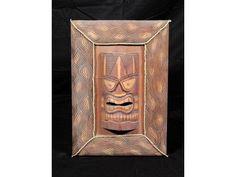 "Framed Tiki Mask - 22"" X 15"" - Island Decor"