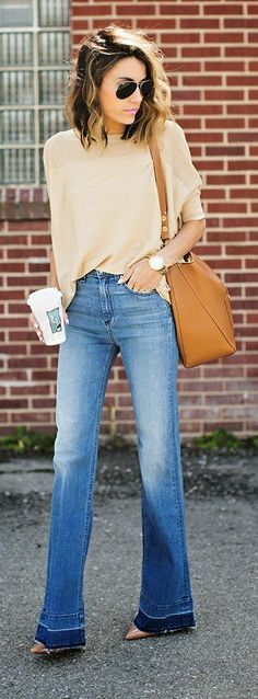Hello Fashion - Spring Top Sweater with Wide Leg Denim and Nude Patent Pumps                                                                                                                                                                                 More