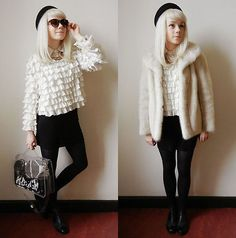 Kate G - Vintage Black Pillbox, Belonged To My Grandmother! Fur Coat, Stylenanda Sweater, Yegane Dilek Ghost Bag, Asos Boots I Wear Every Day - Charlie - put it down in black and white!