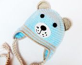 """Crocheted children / baby hat """"Bear"""" in light blue, accessories autumn / winter, Photography Prop,READY TO SHIP"""