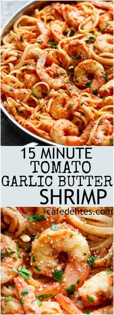 15-Minute Creamy Tomato Garlic Butter Shrimp - Cafe Delites Yummy Recipes, Fish Recipes, Seafood Recipes, Cooking Recipes, Easy Shrimp Pasta Recipes, Spaghetti With Shrimp Recipes, Shrimp Spaghetti, Recipe Pasta, Food Dinners