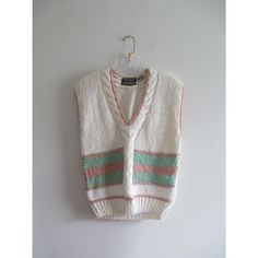 Vintage Society Pastel Cream Pink Green Cable Hand Knit Thick Sweater Vest Top Sz Medium