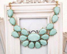Mint  Stormy Seas Briolette Bib Statement Necklace by ASmallGift, $15.00