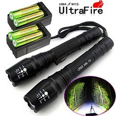 2X Police Tactical 5000 Lumens Led Flashlight 18650 Cree T6 XML Torch +Battery + Charger #deals