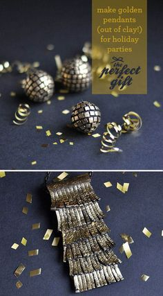 Golden necklaces made from clay! Easy DIY.