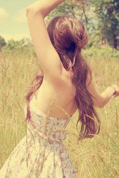 Cute Pretty Brunette   beautiful, brunette, cute, dress, field - inspiring picture on Favim ...