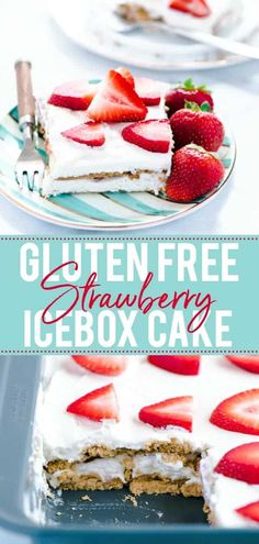 Looking for an easy no-bake dessert? Try this gluten free Strawberry Icebox Cake! Only a handful of ingredients, minimal prep, simple to make, and truly delicious! Easy No Bake Desserts, Summer Desserts, Delicious Desserts, Dessert Recipes, Cake Recipes, Summer Recipes, Best Gluten Free Recipes, Gluten Free Cakes, Gluten Free Desserts
