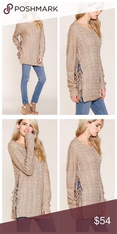 PreOrder Coming Soon! Taupe pullover knit sweater with cables • Tie cord detail at side slit • Long sleeves • Round neck • Tunic length • Model is 5` 7 31B-24-33 and wearing a size Small Fabric Content: 100% ACRYLIC Sweaters