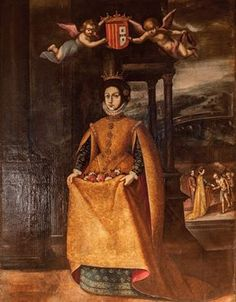 "Rainha Santa Isabel, ""Milagre das Rosas"" - Sé Velha de Coimbra, Séc. XVII, óleo sobre tela."