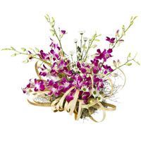 Congratulations - Exclusive designer arrangement of purple orchids mixed with filler flowers in a basket.