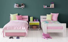 Single beds made of solid wood