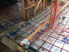 An electric radiant heating wire system installation from contractor Jeff King & Co. Radient Floor Heating, Hydronic Radiant Floor Heating, Hydronic Heating, Heated Bathroom Floor, Heated Concrete Floor, Concrete Floors, Heated Floor, Electric Underfloor Heating, Underfloor Heating Systems