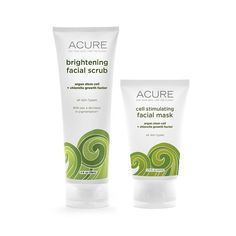 Acure Organics Kelp Brightening Facial Scrub and Cell Stimulating Facial Mask Bundle With Argan Oil, CoQ10, Sea Buckthorn Oil, Algae, Rosehips and Chlorella Growth Factor, 4 fl. oz. and 1.75 fl. oz. * Tried it! Love it! Click the image. : Face Exfoliators, Polishes and Scrubs