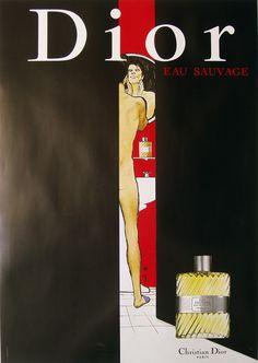 "Provocative... Original ""Dior (man in doorway)"" poster by Rene Gruau, 1978"