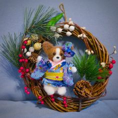 .@momos_gallery | 2014 New Year Wreath Papillon Japanese Kimono Version , Needle Felting | Webstagram