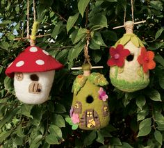 """Colorful, sustainable homes for small birds- chickadees, wrens, bluebirds. Felted wool naturally resists rain (it slides right off) and biodegrades slowly over time. Left outdoors in hard weather, each house should last for more than a year; in a sheltered area, much longer. Made in Nepal by Fair Trade artisans, each is about 9"""" high."""