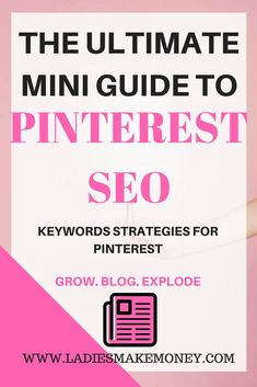 The Ultimate Mini Guide to Pinterest SEO and Pinterest keywords strategy. Not sure where to find keywords for your Pinterest images, this blog will help you out. Find out how to effectively use Keywords on Pinterest to grow your blog and make money online. If you are at a stay at home mom or are looking for sponsored posts, join Pinterest and triple your blog traffic. These are the best SEO tactics to use on Pinterest. Use Pinterest group boards and Pinterest tribes for business to grow your…