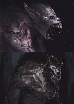 Werewolves by EdwardDelandreArt vampire monster beast creature animal | Create your own roleplaying game material w/ RPG Bard: www.rpgbard.com | Writing inspiration for Dungeons and Dragons DND D&D Pathfinder PFRPG Warhammer 40k Star Wars Shadowrun Call of Cthulhu Lord of the Rings LoTR + d20 fantasy science fiction scifi horror design | Not Trusty Sword art: click artwork for source
