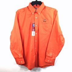 Cutter & Buck Virginia Cavaliers L Epic Easy Care Nailshead Shirt UVA Orange LS #CutterBuck #ButtonFront