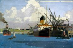 View of Docks with SS 'Duke of Argyll' at Quay - Norman Wilkinson (1878–1971)