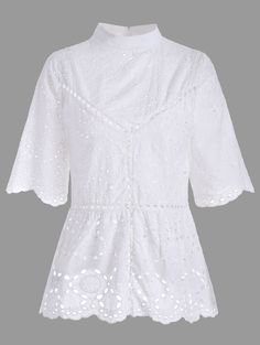 Mock Neck Scalloped Hollow Out Tunic in White XL | Sammydress.com