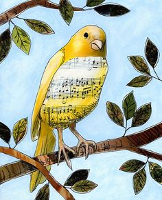 Songbird art print … Songbird 3 — 8 x 10 Glossy Print, from my original collage – Collage Fashion 2019 Art Journaling, Art Journal Pages, Pop Art Bilder, Mixed Media Collage, Collage Collage, Art Journal Inspiration, Mail Art, Mellow Yellow, Art Plastique