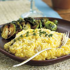 Creamy butternut squash risotto (cooks in the microwave).  Wonderful autumn meal alongside roasted brussels sprouts.