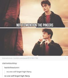"""See the thing about this post is that it could be read as """"no one will forget high Harry"""" or """"no one will forget, high Harry"""" (talking about the pincers), which makes it that much better"""