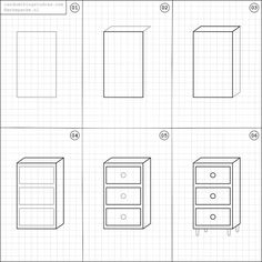 How to draw a chest of drawers.