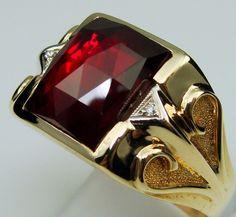 Men Ring Antique Vintage Collectible Deco Estate Ruby Diamond 10K Yellow Gold