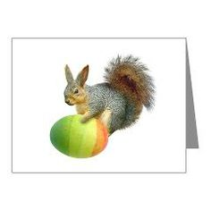 Easter Squirrel Note Cards by Cat's Clips. http://www.cafepress.com/catsclips.431403215