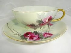 Image result for Limoges 4pc Tea Cup Saucer Set Hand Painted Pink