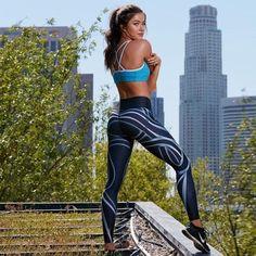 Black Digital Print White Stream Leggings Gym Materials 8eb1063378c