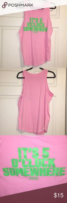 "Victoria's Secret PINK Pink 5 O'clock Tank Victoria's Secret Pink Tank. Pink tank with Green writing. ""IT'S 5 O'CLOCK SOMEWHERE"". Size Medium - BUNDLE ANY 2 VS PINK TOPS FROM MY CLOSET TO RECEIVE BUY ONE, GET ONE FREE! PINK Victoria's Secret Tops Tank Tops"