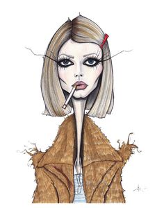 love, love this illustration of Margot Tenenbaum by Jamie Lee Reardin Fashion Sketches, Art Sketches, Art Drawings, Fashion Illustration Face, Illustration Art, Estilo Tim Burton, Art Sketchbook, Face Art, Aesthetic Art