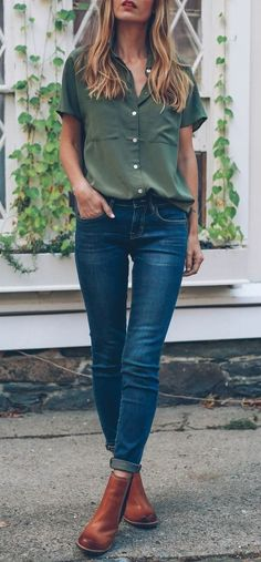 #winter #outfits green button-up short-sleeved top and blue denim fitted jeans