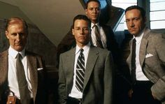 Dudley Smith, Ed Exley, Bud White and Jack Vincennes from L.A. Confidential by James Ellroy. Great set of characters