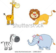 Jungle Animals Cartoon Mascot Characters. Raster Collection Set