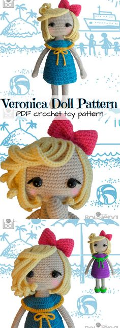 Super CUTE amigurumi doll pattern to make! Love this little crochet doll named Veronica! (24 pages with detailed instructions, tips, 100 photos illustrating the process to help you create this doll). #etsy #ad #instant #download #pdf #printable #pattern