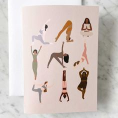 Part of the Yoga collection, this card was designed to promote body positivity. Gift to another yogi, friend, or just because! Outside: Illustration of six women of all body types and ethnicities doing different yoga postures. Inside: Blank Comes with a white envelope Shipped in a protective Sleeve Sustainably sourced 16pt paper Matte finish for vibrant colors Uncoated inside for writing on Friends Illustration, Yoga Illustration, Yoga Friends, Phoenix Feather, Yoga Lessons, Yoga Positions, Body Positive, White Envelopes, Body Types