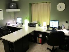 Two Person Desk Home Office With Wall Clock