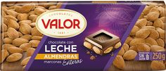 The smoothest Valor chocolate mixed with exquisite whole almonds from the Mediterranean. Chocolate Puro, Spanish Chocolate, How To Make Chocolate, Sin Gluten, Chocolates, Almond, Milk, Pure Products