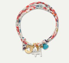 Liberty Print Bracelet - Cat Charm #MarieChantal