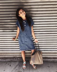 Denim dress + nyc poses