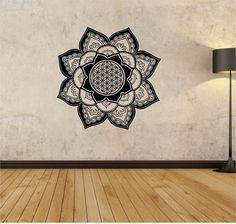 FLOWER OF LIFE Mandala flower Wall Decal Flower namaste Vinyl Sticker Art Decor Bedroom Design Mural flower Buddha namaste yoga living room