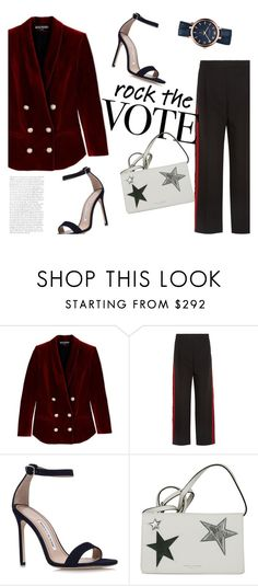 """Land of the Free"" by euphemiasun97 ❤ liked on Polyvore featuring Balmain, Alexander McQueen, Manolo Blahnik and Marc Jacobs"