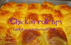 Basically, Chicken Roll-Ups are yummy goodness inside crescent rolls. Roll Ups Recipes, Oven Recipes, Meat Recipes, Appetizer Recipes, Healthy Recipes, Cooked Chicken, Chicken Meals, How To Cook Chicken