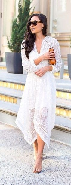 #street #style #spring #2016 #it-girl #outfitideas | White Lace Maxi Dress | With Love From Kat