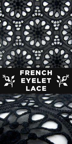 French Silk Gazar Eyelet Lace in Black